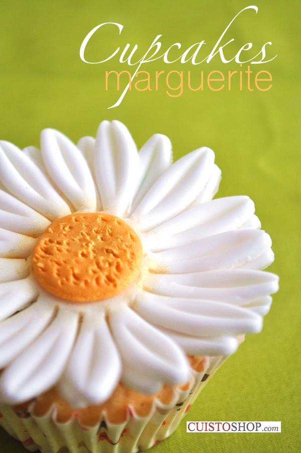 Cupcakes marguerite en p te sucre for Faire des decors en pate a sucre
