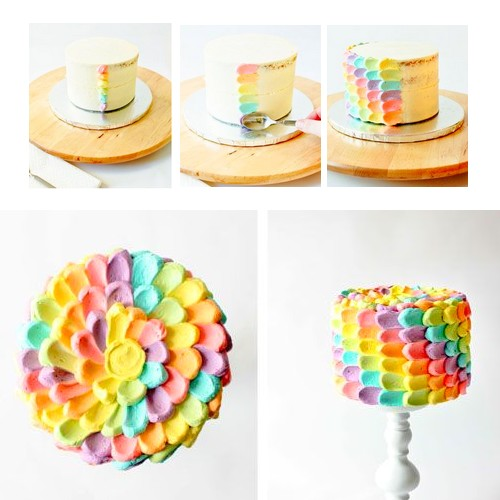 Id e de d coration d 39 un rainbow cake - Decoration gateau glacage ...