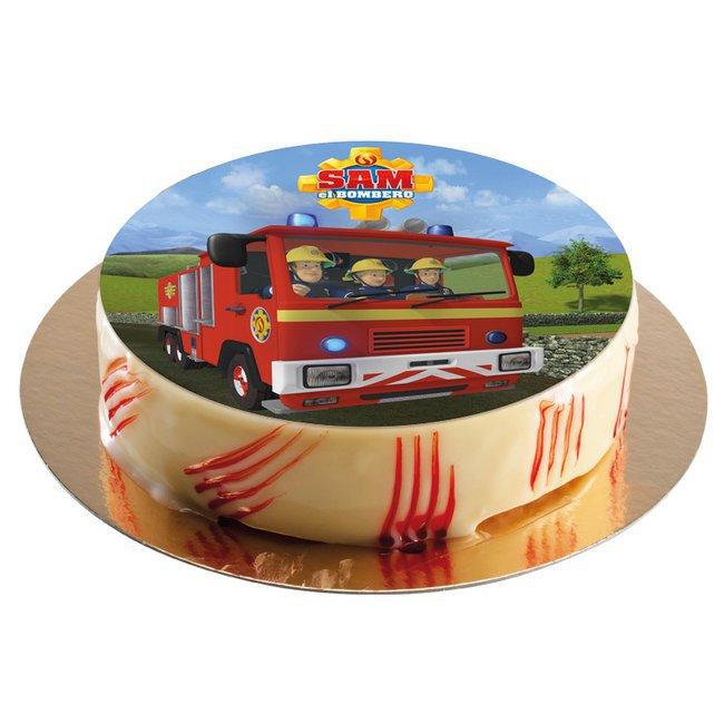 Comestibles ingr dients azyme disques et wafer paper disque en s cre sam le pompier 20cm - Gateau anniversaire sam le pompier ...