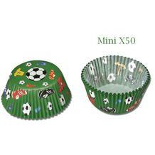 50 Caissettes à baby cupcakes football