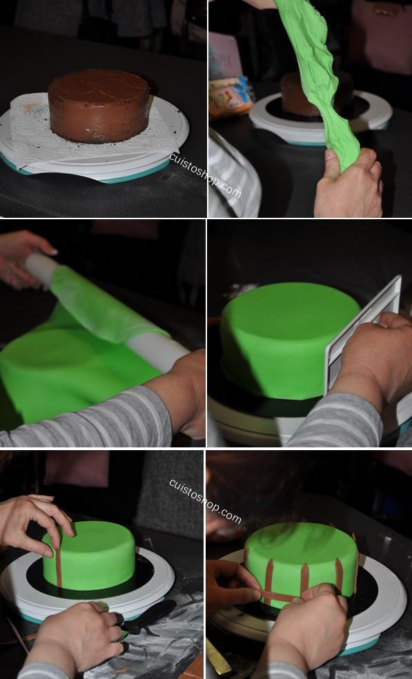 G teau p te sucre th me printemps p ques - Comment decorer un gateau avec pate a sucre ...