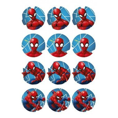12 Mini disques en sucre Spiderman